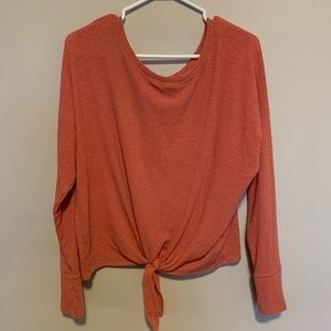 Long Sleeve Soft Tie Front Top
